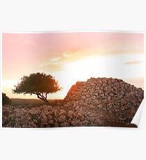 Sunset on Paleolithic remains   Poster