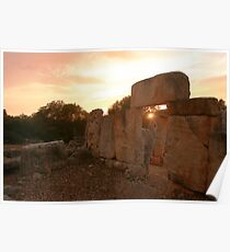 Sunset under paleolithic remains Poster