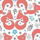 Foxes love blue flowers pattern by oksancia