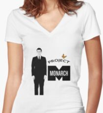 Project Monarch - Bluebird Project - Paper Clip - MK Ultra Women's Fitted V-Neck T-Shirt