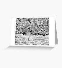 Surreal with reality walk on the beach Greeting Card