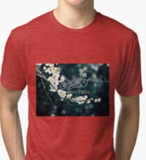 Hello Beautiful White Plum Blossoms Blue Green Brocade Tri-blend T-Shirt