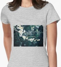 Hello Beautiful White Plum Blossoms Blue Green Brocade T-Shirt