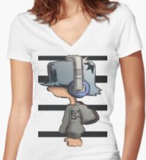 HeadPhone Max 2 Women's Fitted V-Neck T-Shirt