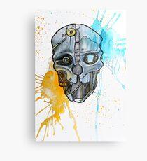 Corvo's Mask - Dishonored - Ink Splatter Metal Print