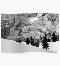 Fort from the World War I in the Dolomites black and white photography of the Alps in Winter snow and rock fine art - Il Tempo Poster