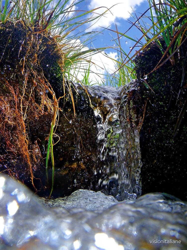 Little waterfall macro close up of a stream naturalistic wall art - La cascata degli Gnomi by visionitaliane