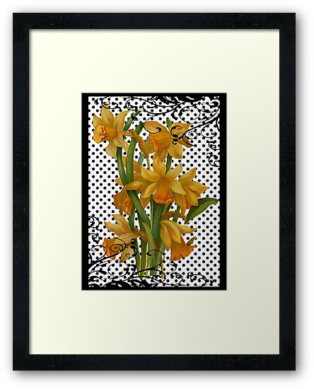 Antique Daffodils on Black Polka Dots by Pixelchicken