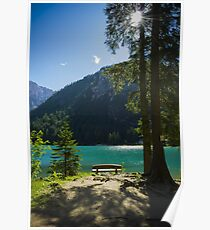 Bench in front of green alpine lake in the summer wall art decoration - Il mio piccolo paradiso Poster