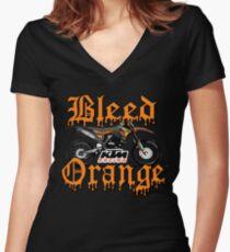 Bleed Orange Women's Fitted V-Neck T-Shirt
