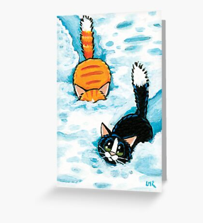 Two Furry Snow Ploughs Greeting Card