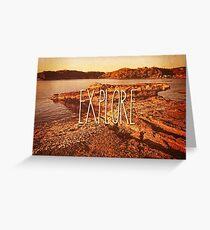 Explore Seaside Rocks Sunset Vintage Bay Adventure Greeting Card