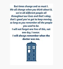 The 11th Doctor's Final Speech Photographic Print