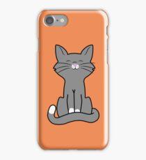 Sitting Gray Cat iPhone Case/Skin
