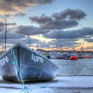 Black Skiff at the Lobster Rock Wharf by Debbie  Roberts