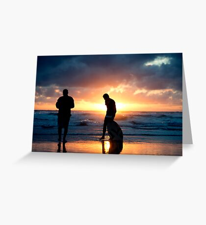 Family Reunion - sunset Baylys Beach, NZ Greeting Card