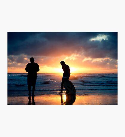 Family Reunion - sunset Baylys Beach, NZ Photographic Print