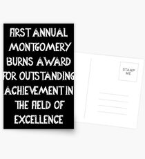 First Annual Montgomery Burns Award for Outstanding Achievement in the Field of Excellence Postcards