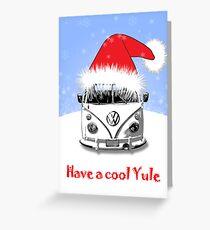 VW Camper Cool Yule Blue Pale Greeting Card