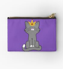 Gray Cat Princess with Gold Crown Studio Pouch