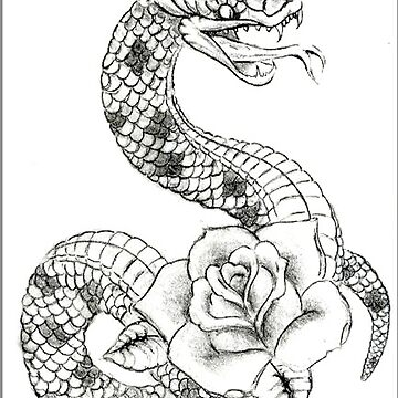 Tattoo Snake with Rose by FlannelDave