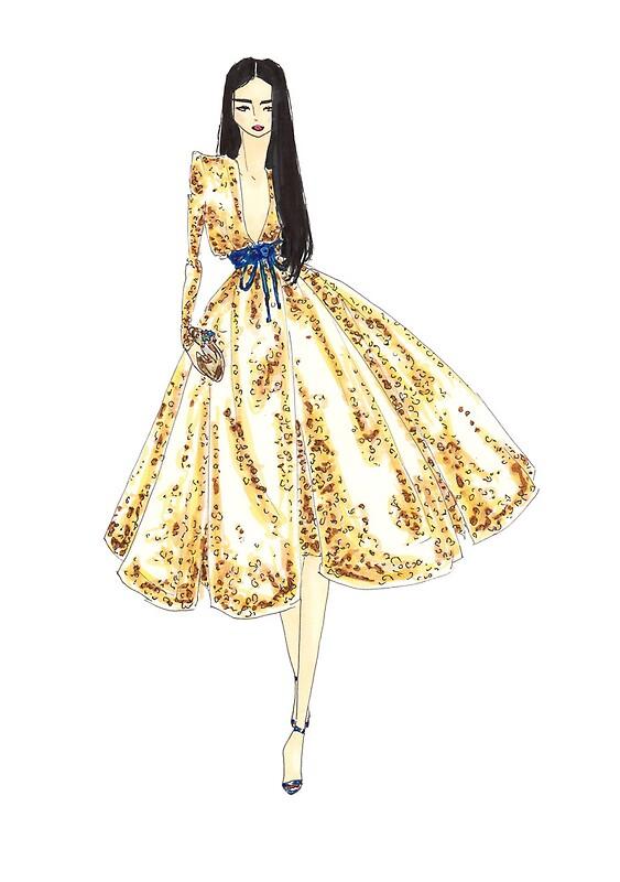 Fashion Illustration U0027Gold Sequin Dressu0027 Fashion Art By Alex Newton  Fashion Design Posters