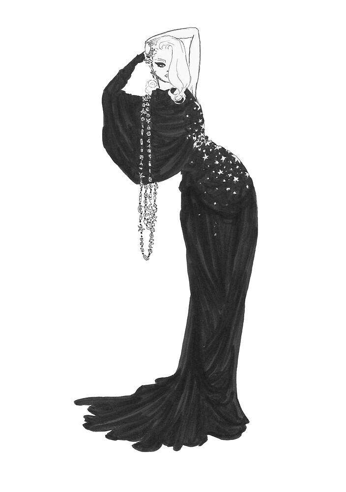 Quot Fashion Illustration Velvet Star Dress Fashion Art Quot By