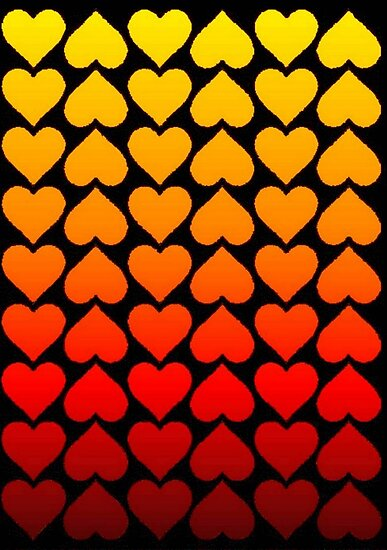 Love Hearts On A Black Background by taiche