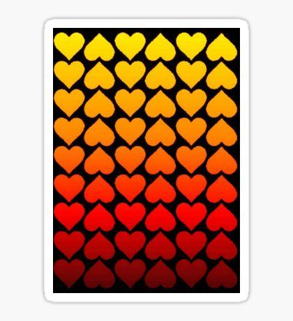 Love Hearts On A Black Background Sticker