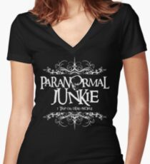 Paranormal Junkie Women's Fitted V-Neck T-Shirt