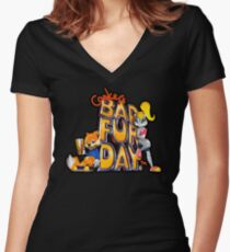 Conker's Bad Fur Day N64 Retro nintendo game fan shirt Women's Fitted V-Neck T-Shirt