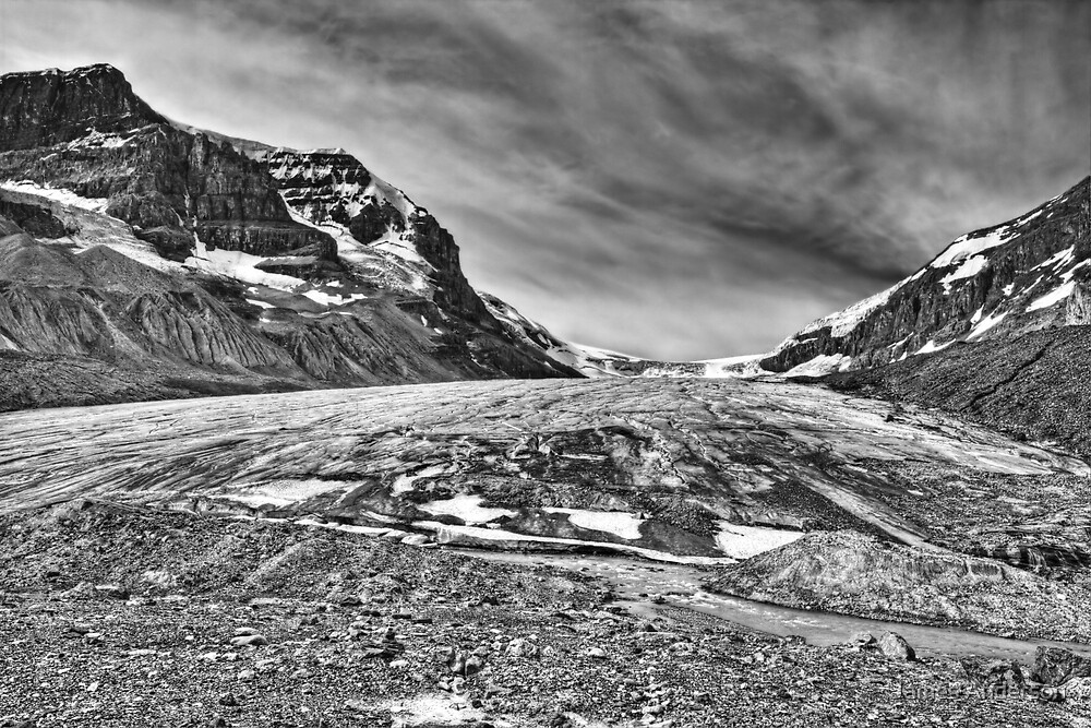Athabasca Glacier in Black and White by James Anderson