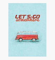 Volkswagen Bus Samba Vintage Car - Hippie Travel - Let's go somewhere Photographic Print