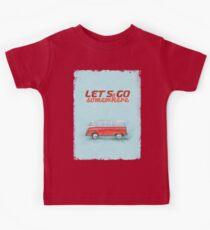 Volkswagen Bus Samba Vintage Car - Hippie Travel - Let's go somewhere Kids Clothes