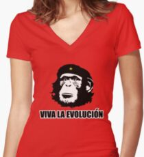 Viva La Evolucion Funny Chimp Che Women's Fitted V-Neck T-Shirt