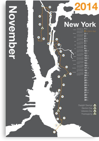 New York City Marathon Map 2014 by skiermarc127