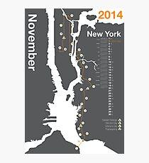 New York City Marathon Map 2014 Photographic Print