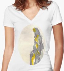 Yellow to Grey Women's Fitted V-Neck T-Shirt