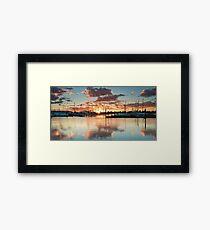 Bridge Marina Peach Dawn Framed Print