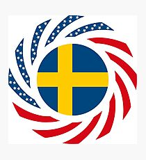 Swedish American Multinational Patriot Flag Series Photographic Print