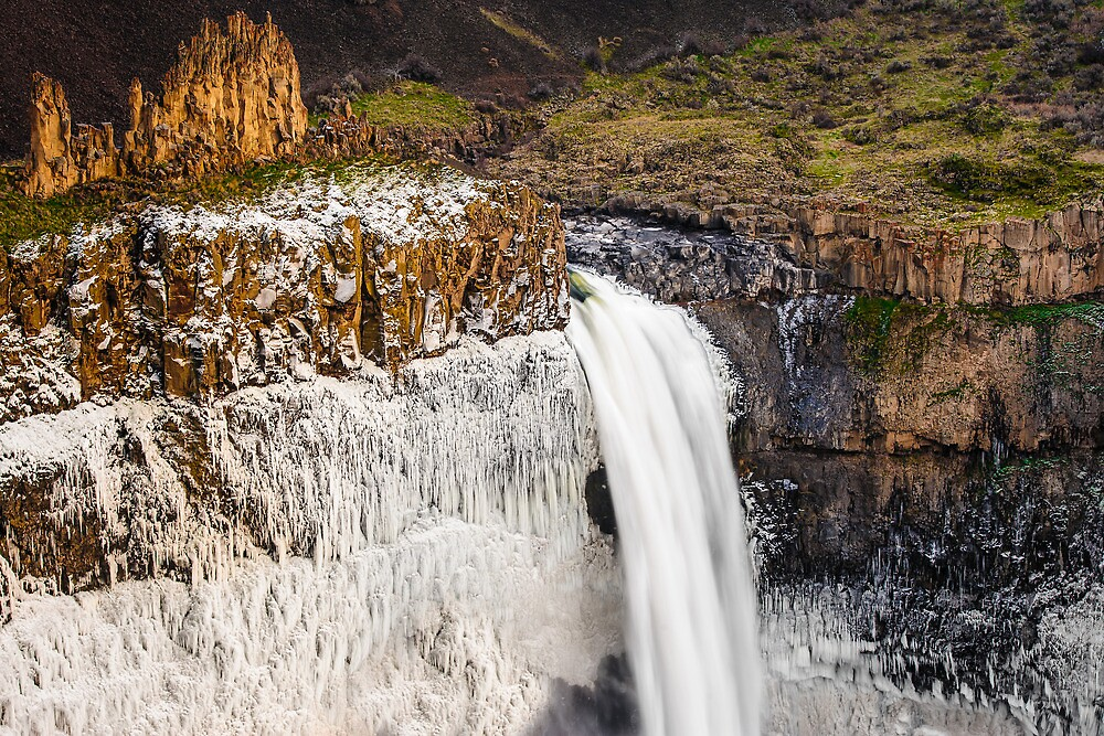 Palouse Falls Basalt and Ice by Dan Mihai