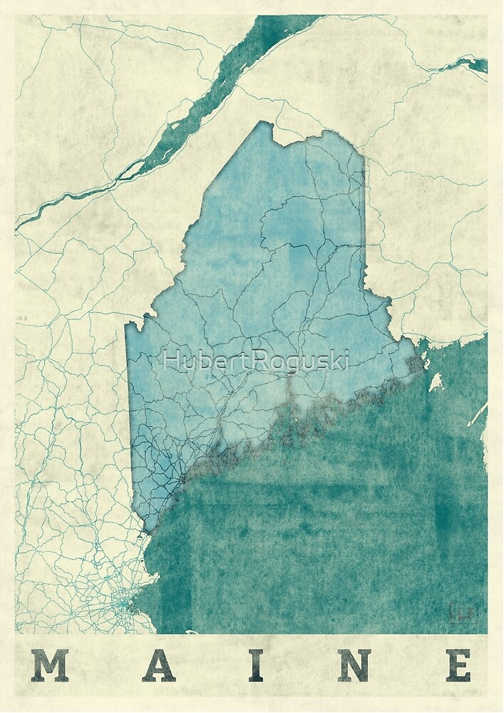Maine Map Blue Vintage by HubertRoguski