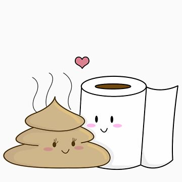 Poop & Toilet Paper (Love at First Wipe!) [Apparel & Transparent Stickers] by charsheee