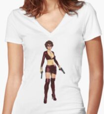 Twin Pistols Women's Fitted V-Neck T-Shirt