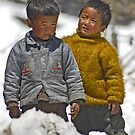 Tibetan brothers up in the Himalayas by Konstantinos Arvanitopoulos