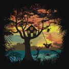 Sunset Silhouette Swing by zomboy