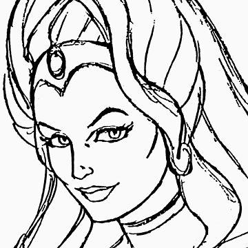 She-Ra Princess of Power - Looking Left - Black Line Art by DGArt