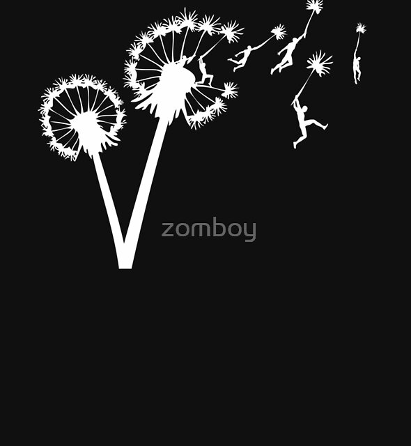 Dandylion Flight - white silhouette by zomboy