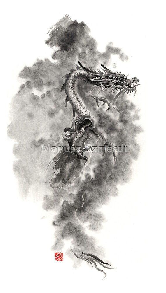 Water Wind dragon dragons sumi-e ink painting chinese zodiac five elements fantasy world art by Mariusz Szmerdt