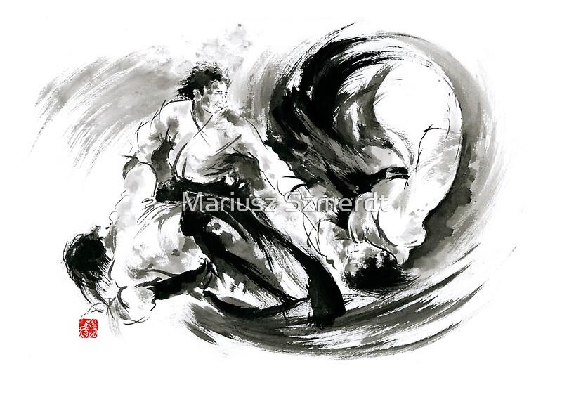 'Aikido randori fight popular techniques martial arts sumi-e samurai ink painting artwork' by Mariusz Szmerdt